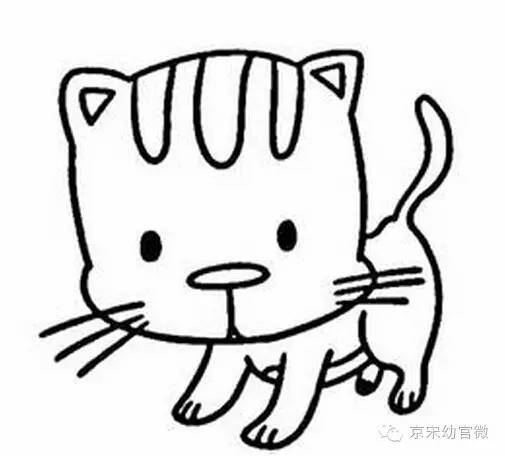 小花猫简笔画-爱上幼儿园之家庭教育 幼儿最喜欢的 小动物童谣 大全