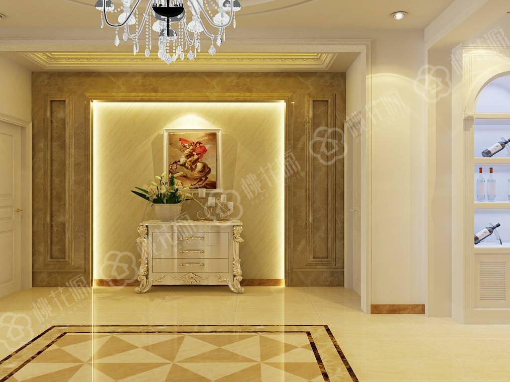 玄关装修效果图美不胜收,硅藻泥背景墙是点睛之笔