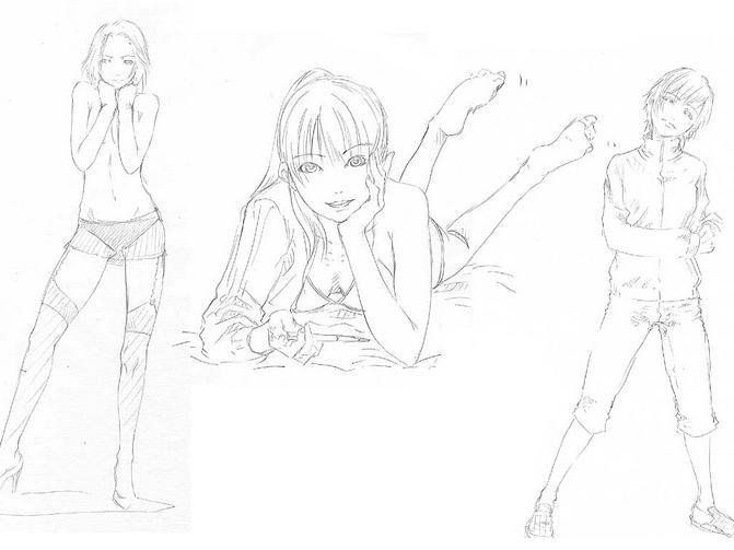 动漫人物绘画教程|动漫少女s型身体线稿的画法