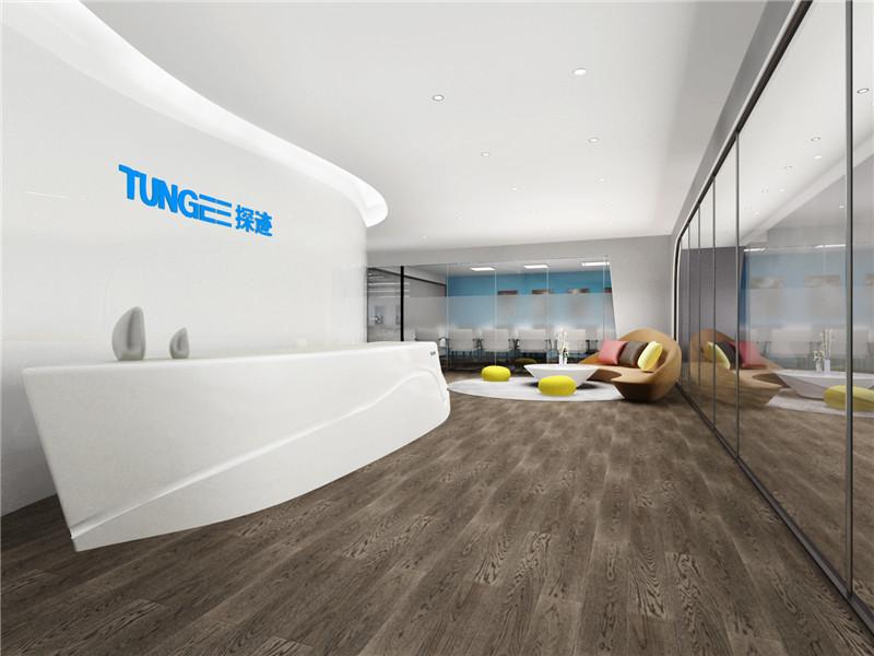 广州探迹科技有限公司办公室设计前台设计效果图图片