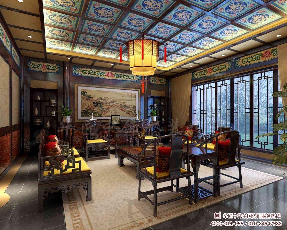 风格别墅装修效果图,  华匠中饰以典型的中式设计为主题,以红木家具与