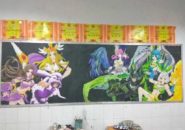 小学生有多爱《小学荣耀》?看黑板报就知道了练习题王者数词图片