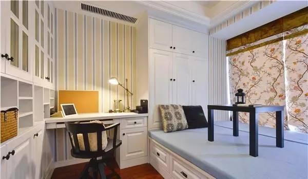除了上面「书桌+书柜+衣柜+地台床」的标配设计外