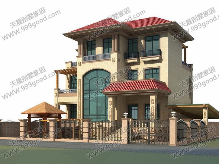 农村欧式三层别墅设计图带院落车库