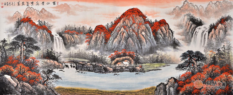 比如蒋伟的国画鸿运当头图,作品山水美景美不胜收,意境悠长深远,而又图片