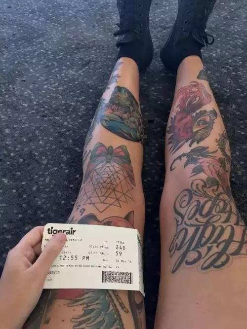 性感而又霸气的大花腿纹身!