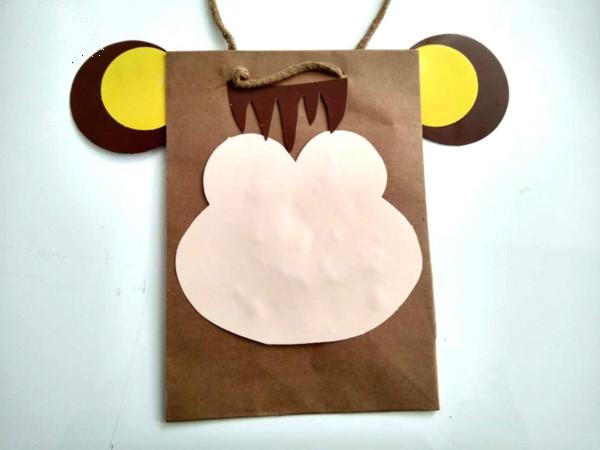 儿童手工DIY拼贴画小猴子纸袋