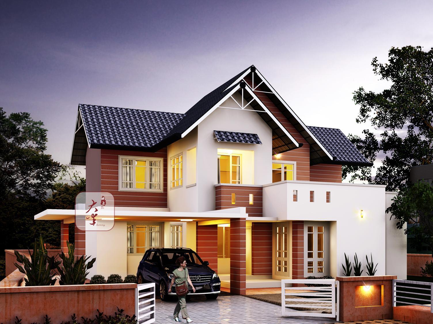 二层简单一点的别墅图