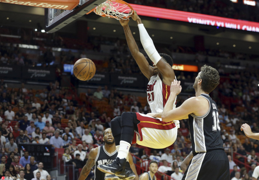 NBA常规赛 马刺队客场击败热火队图片