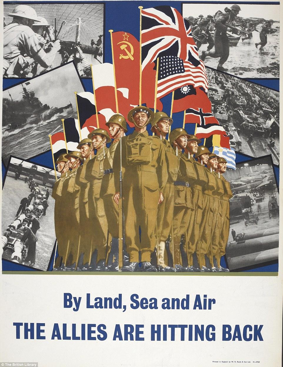 二战英国宣传画,充满正能量,打败纳粹立奇功