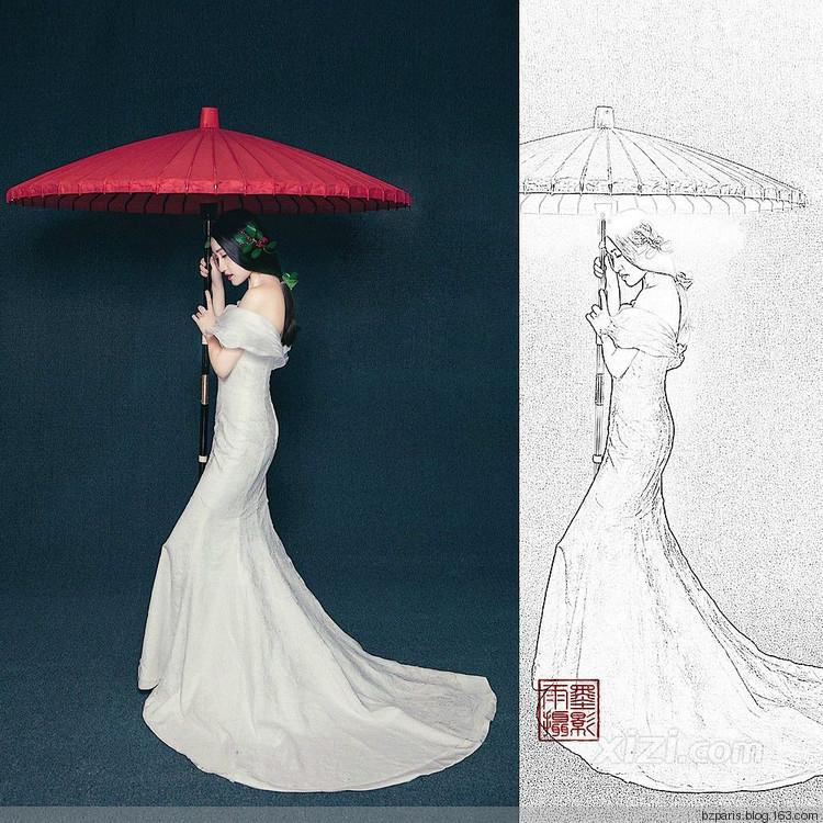 巴中巴黎婚纱:工笔画婚纱照