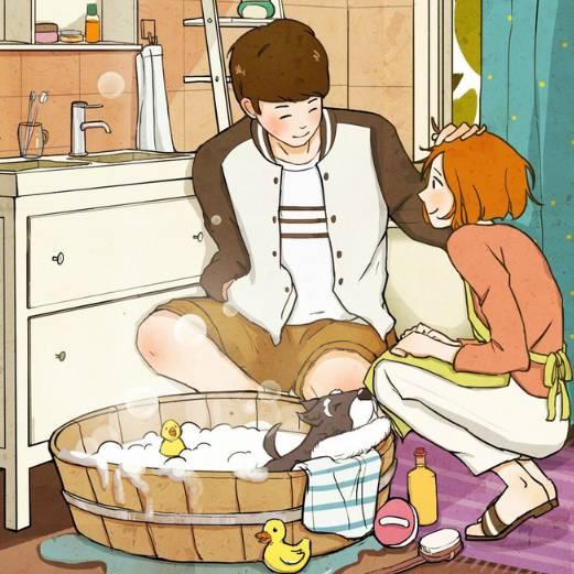 一起做饭的卡通情侣图片