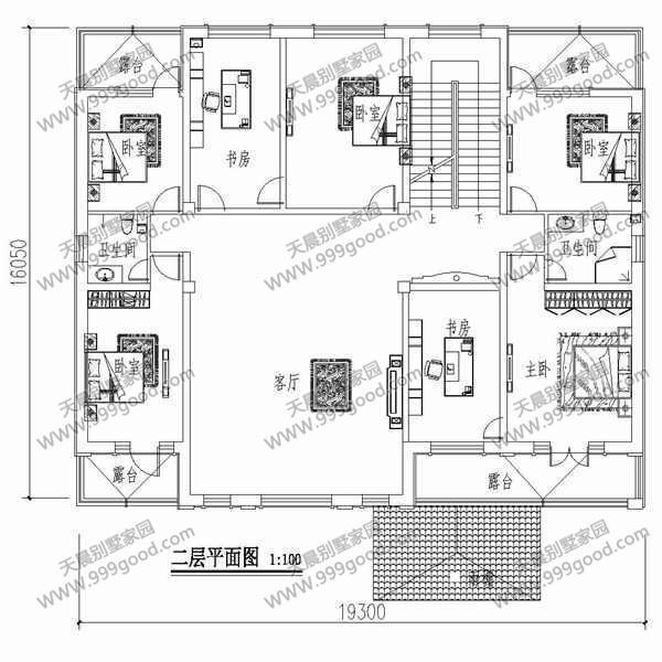 农村三层中式典雅别墅设计图 平面图