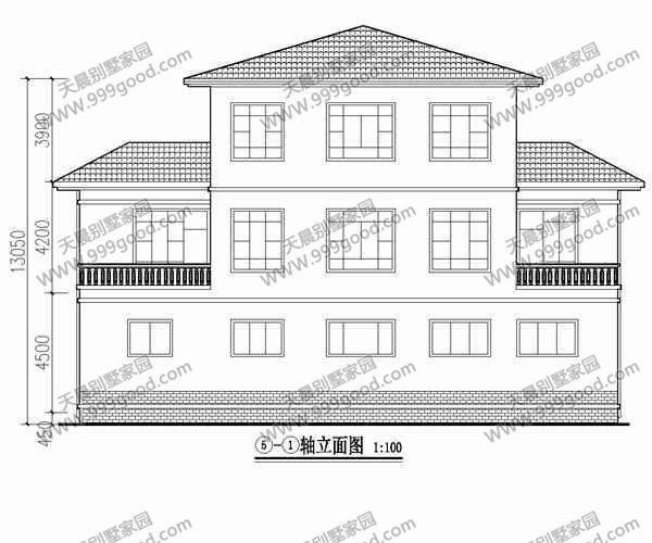 农村三层中式典雅别墅设计图 平面图图片