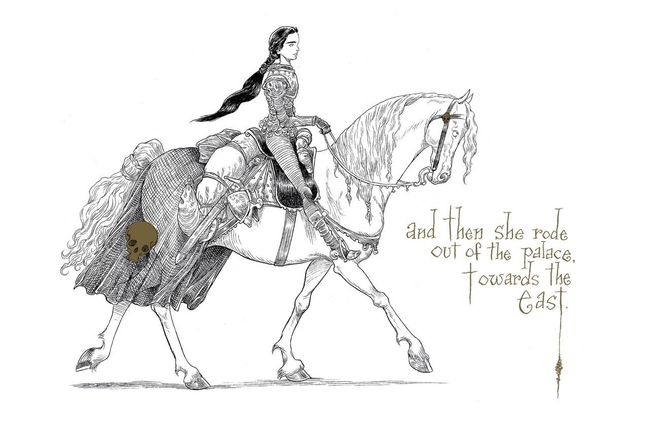 现在人骑马手绘