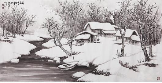 雪景山水画 吴大恺四尺横幅作品《山中无俗事》 作品来源:易从网图片