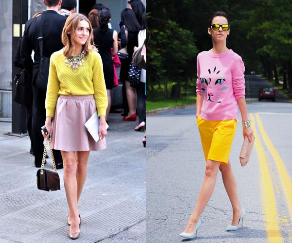 黄色衣服太明显怎样回比人_粉色的百褶裙搭配黄色上衣,可活泼可清纯.