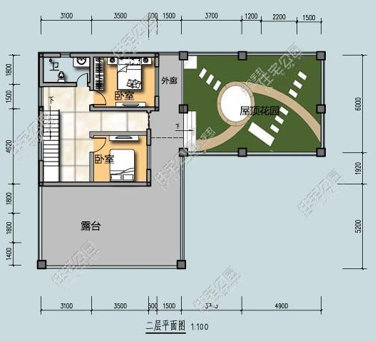 整套自建房是l型的设计,屋顶花园可以养花,留出8.图片