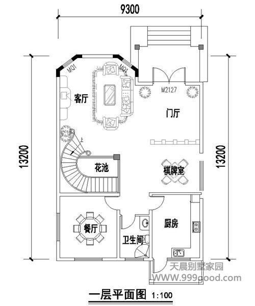2x9.3米别墅设计效果图平面图,造价30~35万!