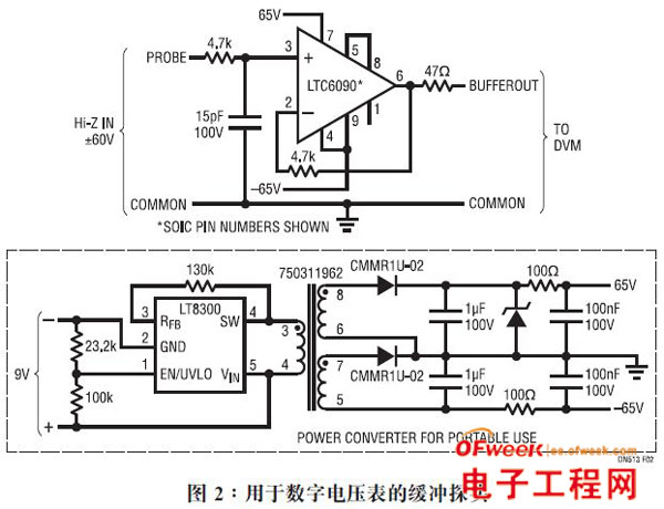 高电压cmos放大器利用单个ic实现高阻抗检测
