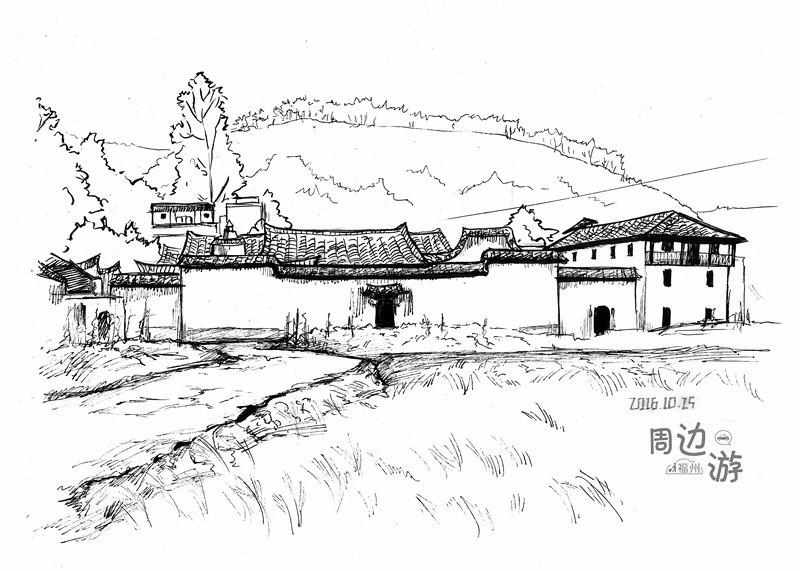 婺源徽派建筑手绘