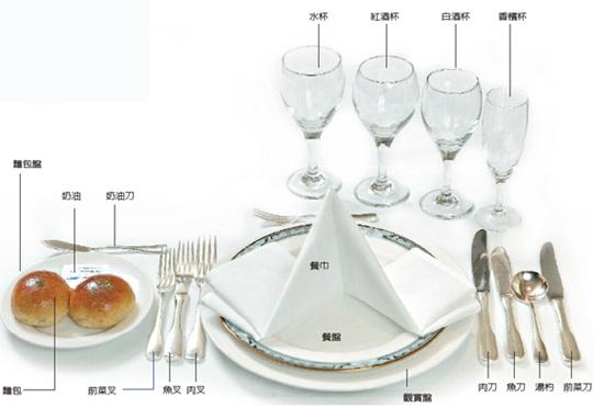 世界上高级的西式宴会摆台是基本统一的.图片