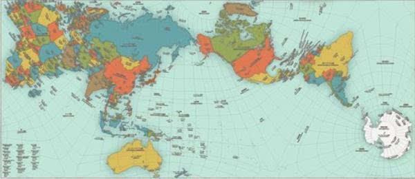 日本建筑师师鸣川肇制新世界地图 显示出正确的陆地及图片