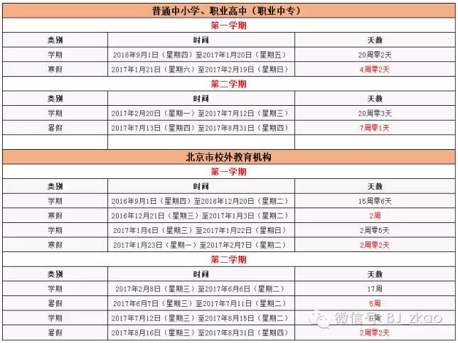 2016-2017北京中小学寒暑假放假中学芭!北京101时间吗有高中图片