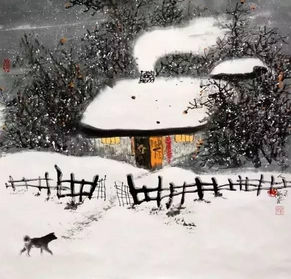 ——【唐】柳宗元《江雪》 山中雪后 晨起开门雪满山, 雪晴云淡日光