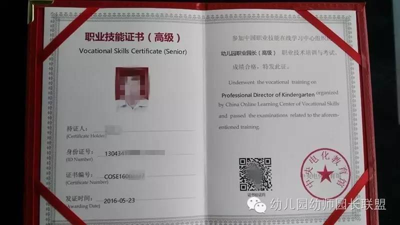唯一个教育部颁发园长证,中央电教馆职业资格