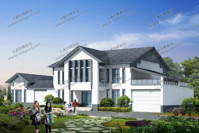 新农村最美中式二层建筑,27.4x13.5米豪华别墅设计图!图片