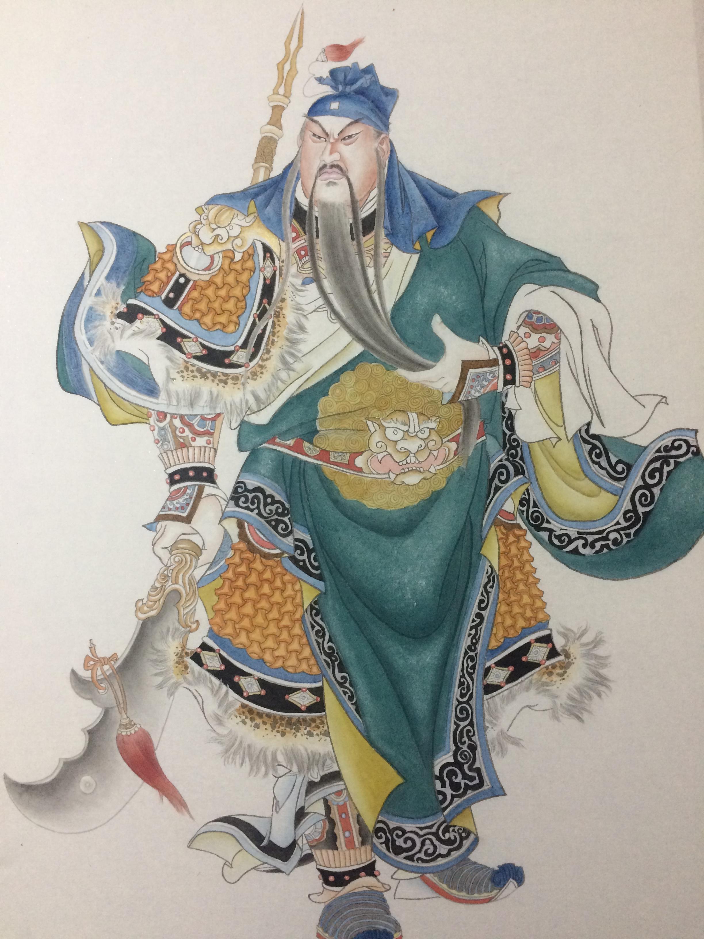 中国工笔画关羽像绘制全过程,真美