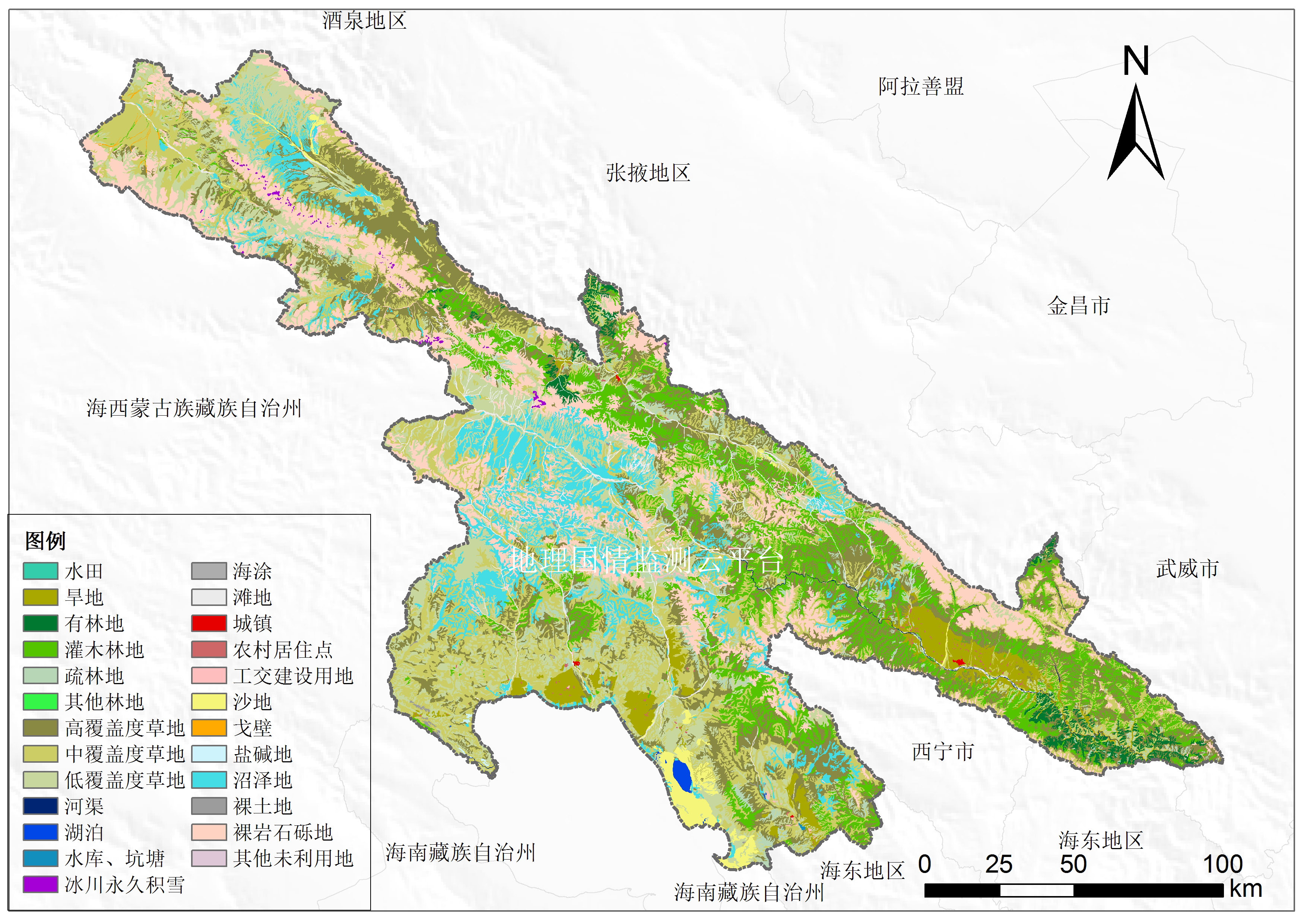 青海省8个市2010年土地利用图