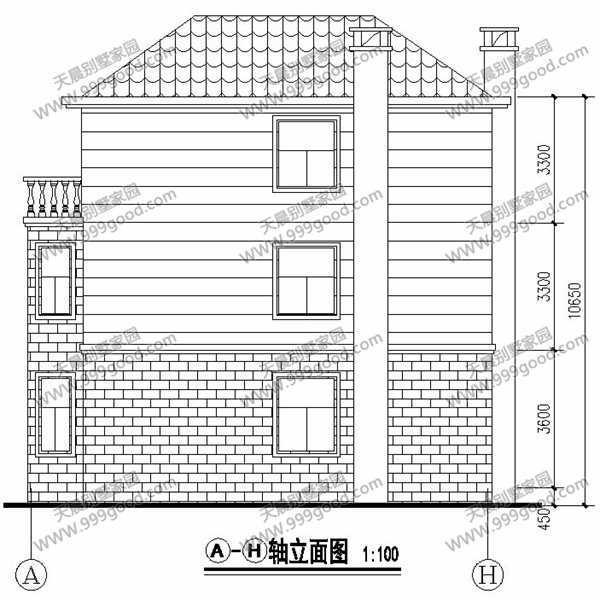 农村复式三层别墅设计图,带独立车库图片