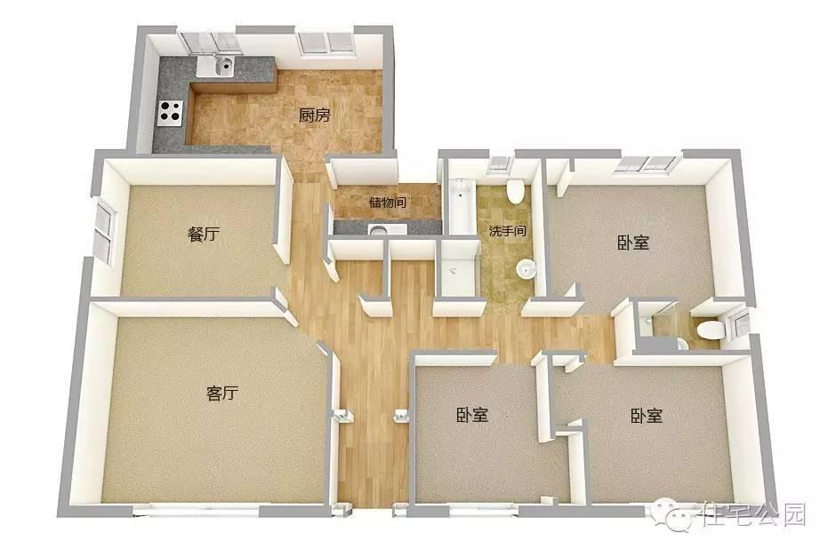 这套别墅是l型的设计,车库,厨房,餐厅,储物间等易脏区单设一边,4间图片