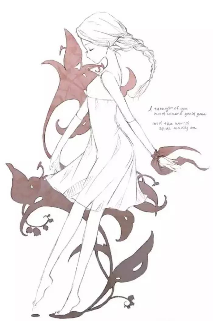 线稿,手绘素描,萝莉线稿,唯美少女线稿 唯美动漫美女图片——请原文
