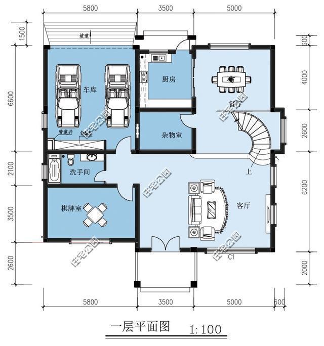 二层平面图:二楼休息为主,三间卧室,主卧室是套间.-新农村别墅