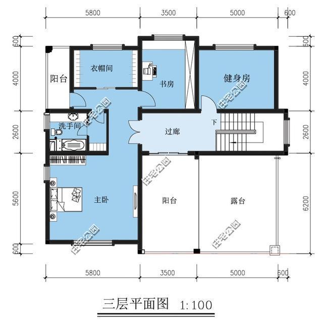 新农村别墅户型 楼中楼旋转楼梯露台车库 含平面图