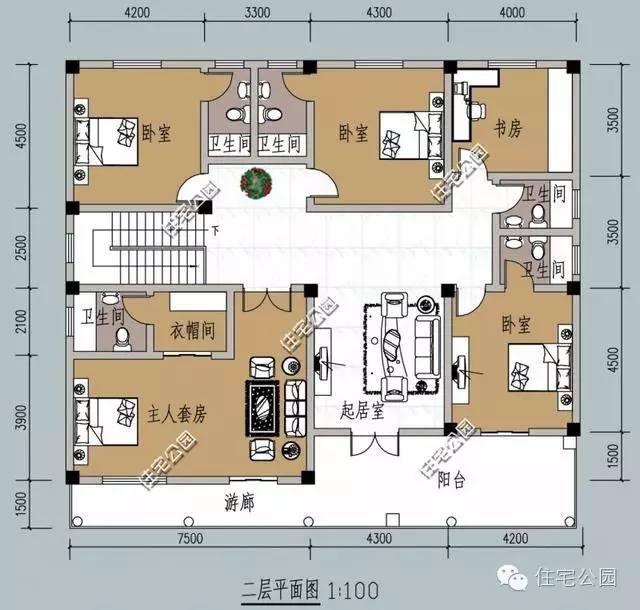 新农村别墅16米面宽户型 7个卫生间洗漱再不排队