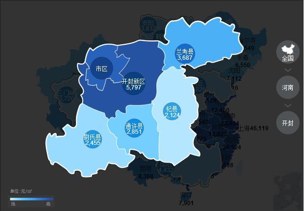 河南全省10月份房价地图曝光,郑州均价12548元