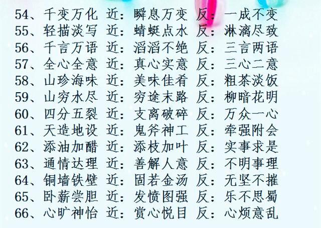 """中国""""四字成语""""近义词,反义词汇总!考试必考!图片"""