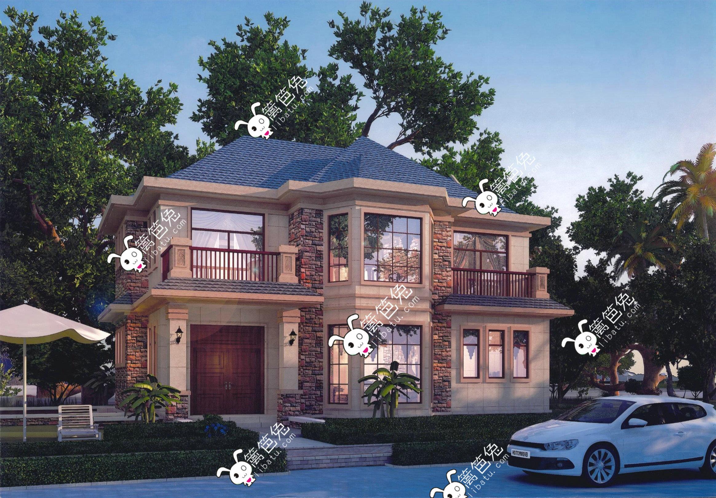 两层别墅设计图 二层欧式楼房复式别墅施工图纸