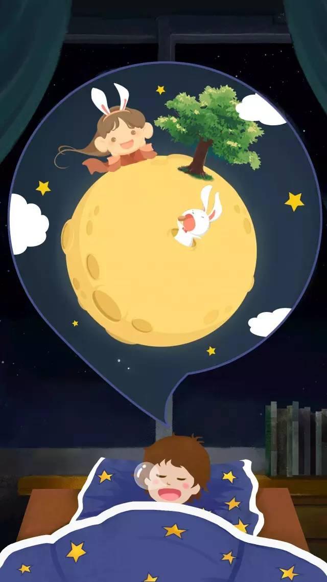 在我的梦里月球上真的住着嫦娥和玉兔呢.