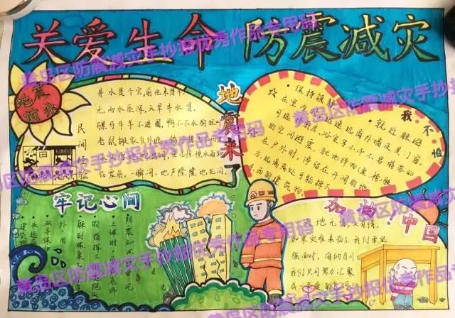 防震减灾│黄岛区中小学生地震科普手抄报比赛优秀作品展示(一)