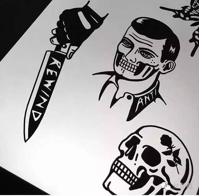 纹身素材——暗黑风黑灰纹身 黑色纹身图片