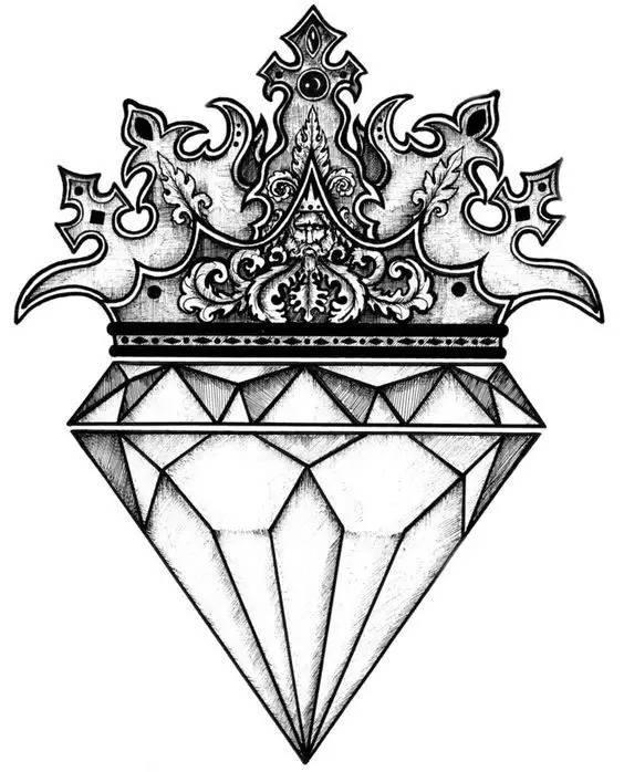 纹身手绘图钻石