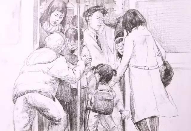 动漫公交车站手绘场景