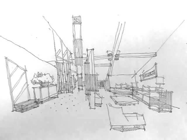 民宿建筑小透视手绘