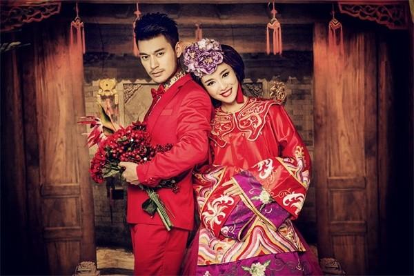 稍微近现代一些的中式婚纱照,这又可以分为两个阶段,一个是民国时期的图片