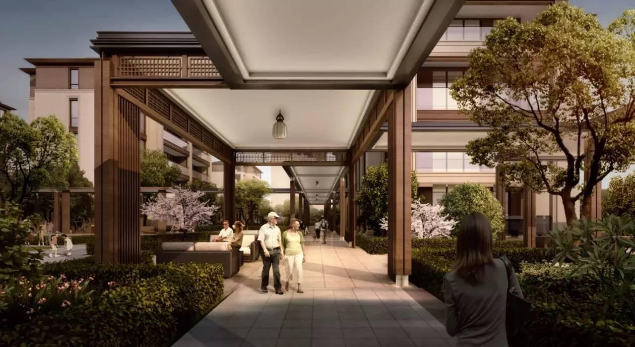 3米的架空层.然后,所有连廊都以垂直方向,与洋房连接.图片